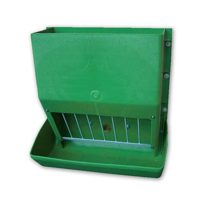 Heavy duty green plastic feeder with hook 100 l