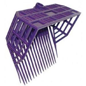 Fourche panier a fumier violet avec manche